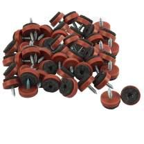 "uxcell 50pcs Screw Felt Glider Furniture Pad Nails Screw-in Glide Slider 25mm/1"" Dia for Wooden Table Desk Leg Feet"
