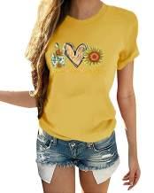 Ferrtye Womens Sunflower Love Cute Graphic T Shirts Short Sleeve Crewneck Casual Loose Fit Summer Tees
