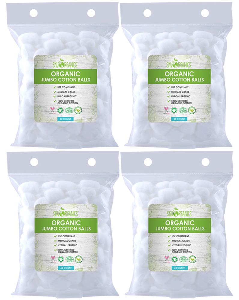 Cotton Balls Organic by Sky Organics (240 ct. 4x 60) Fragrance & Chlorine-Free Cotton Balls, 100% Biodegradable Jumbo Absorbent Jumbo Cotton Balls, Cruelty-Free Cotton for Nail & Make-up Removal