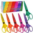 UCEC 6 Kids Craft Scissors, Colorful Decorative Paper Edge Scissors Set, Great for Teachers, Students, Crafts, Scrapbooking, DIY Photos, Album