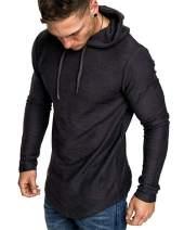 THWEI Mens Athletic Hoodies Sport SweatShirt Long Sleeve Tops Solid Color Pullover Shirt Long Sleeve Tops(Black,M)