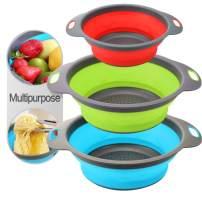 3PC Collapsible Colander, Kitchen Colander Strainer, Silicone Vegetable/Fruit Flexible strainer, Folding Strainer for Kitchen (Blue+Green+Red(Round))