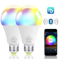 ALITOVE Smart Light Bulb Bluetooth Mesh RGB White Color Changing Dimmable LED Bulbs, 4.5W 350LM E26 RGBW LED Night Lights, iOS Android App Control, Music Sync, Group Control, Timer Function, 2 Pack
