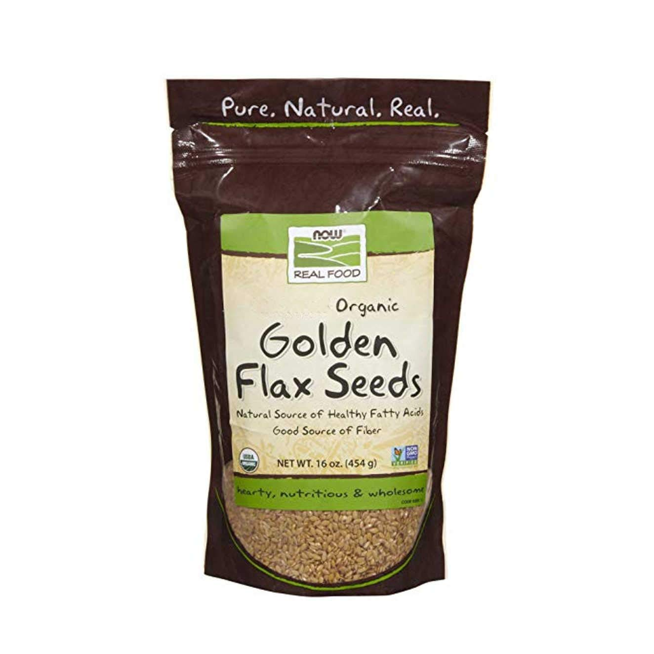 NOW Foods, Organic Golden Flax Seeds, Source of Essential Fatty Acids and Fiber, Non-GMO, 16-Ounce