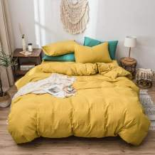 Mucalis Yellow Duvet Cover King 100% Washed Cotton Duvet Cover Set 3pc Solid Modern Farmhouse Bedding Duvet Cover Set with Zipper Closure Corner Ties--No Comforter