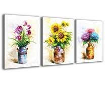 Hongwu Flower Wall Art Painting Canvas Prints Sunflower Tulip Hydrangea Flower Picture Floral in a Vase Pictures Stretched Ready to Hang for Wall Decor 12x16inchx3Panels