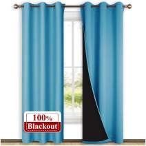 NICETOWN 100% Blackout Curtains 84 inches Long, Pair of Energy Smart & Noise Blocking Out Drapes for Baby Room Window, Thermal Insulated Guest Room Lined Window Dressing(Teal Blue, 42 inches Wide)