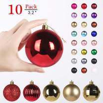 GameXcel Christmas Balls Ornaments for Xmas Tree - Shatterproof Christmas Tree Decorations Large Hanging Ball Red & Gold3.2 x 10 Pack