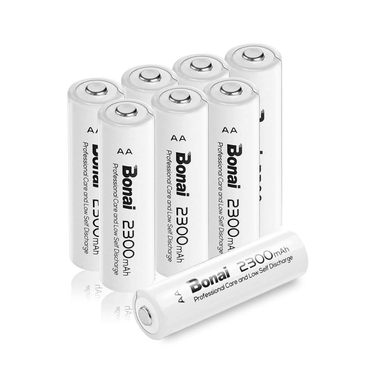 BONAI AA Rechargeable Batteries 2300mAh 1.2V Ni-MH High Capacity (8 Packs) AA Rechargeable Batteries High-Capacity