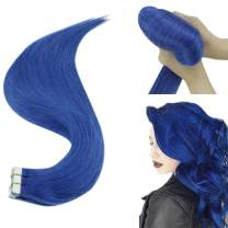 Hetto 16 Inch Human Hair Extensions Tape in Hair PU Skin Weft Hair Extensions 10PCS 25G Per Package Human Tape Hair Extensions Blue Color Real Hair Extensions