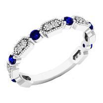 14K Gold Round Blue Sapphire & White Diamond Ladies Vintage Style Anniversary Wedding Band
