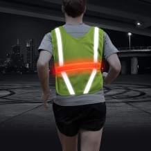 VIZPET Reflective Running Vest Led Safety Vest with Adjustable Waist & Large Pocket Night Light High Visibility for Jogging Biking Motorcycle Walking
