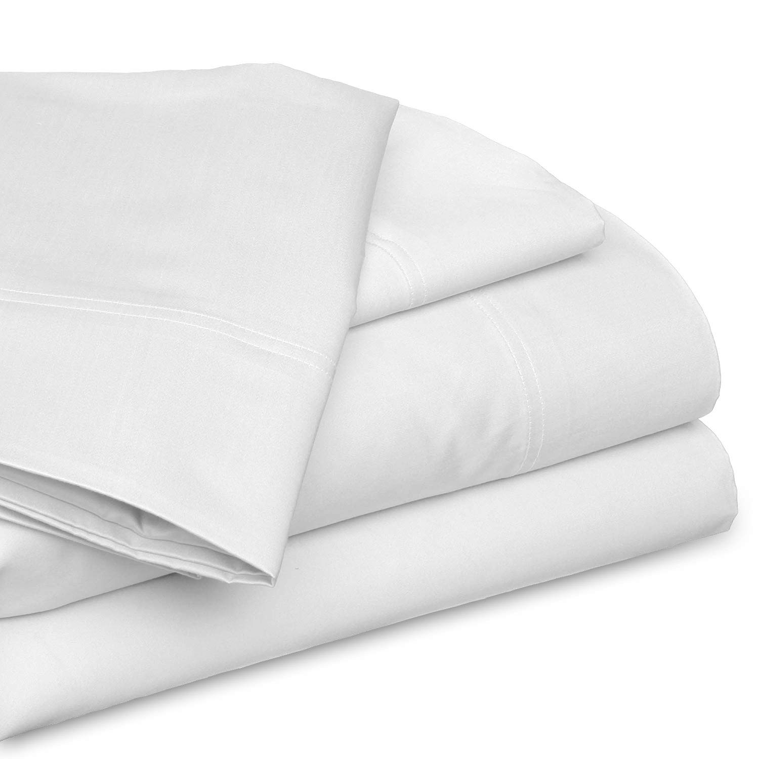 SGI bedding California King Size Sheets - Set 100% Cotton - Luxury Soft 100% Cotton Bed Sheets 1000 Thread Count White Solid