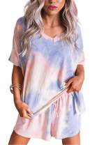 MEIVSO Women's 2 Pcs Tie Dye Pajamas Set Sleepwear Cute Print Short Sleeve and Shorts