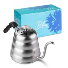 BLUE BREW BB1201 Pour Over Kettle with Thermometer and Glass Lid Top, 40 fl oz, Silver