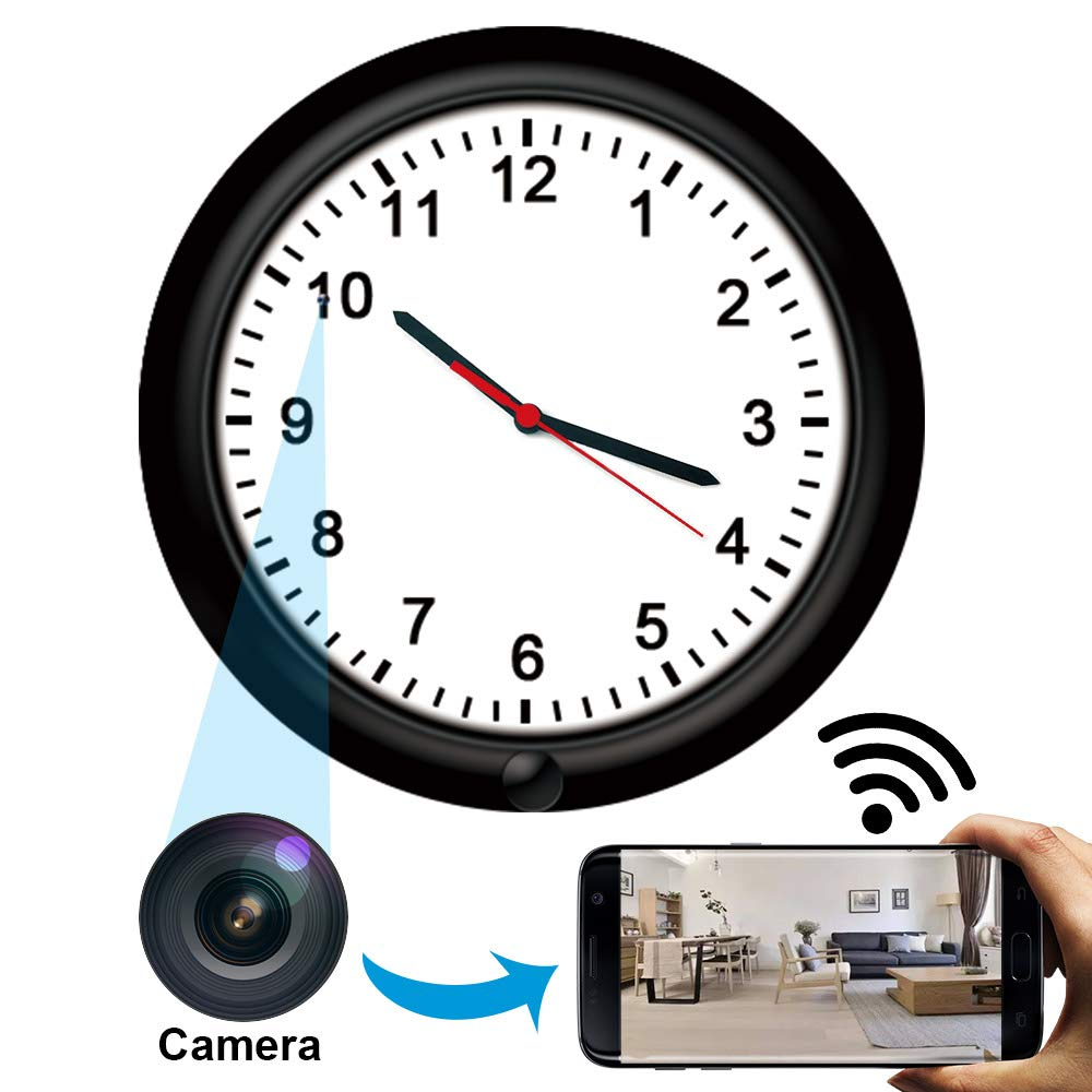 Wireless Hidden Camera Wall Clock,HD Spy Camera Nanny Cam, Rechargeable Battery Powered WiFi Spy Cam, Motion Detection Nanny Camera with Phone App for Home and Office
