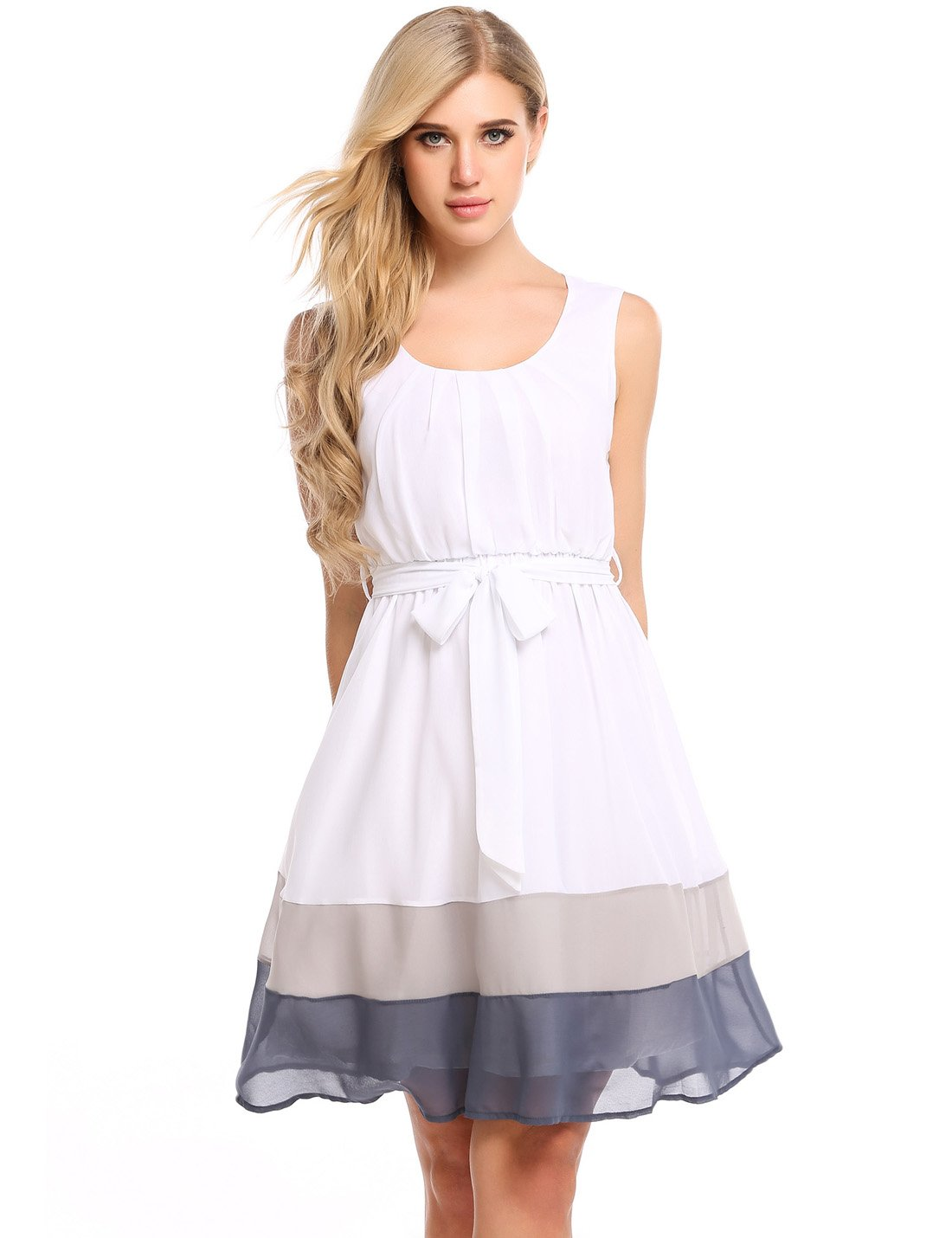 Zeagoo Womens Sweet Sleeveless Fit and Flare Colorblock Casual Chiffon Dress With Belt, Grey, X-Small