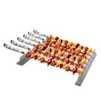 """Leadrise Barbecue Skewer, 17"""" Stainless Steel 430 Flat Metal Kabob Skewers BBQ Sticks A Pair 11"""" X 1.5"""" X 1.4"""" Elevated BBQ Rack (6 BBQ Skewers + 2 Grill Racks + 1 Handy Storage)"""