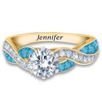 The Danbury Mint Birthstone Swirl Personalized Ring – Swarovski Crystal Birthstone Jewelry - Birthstone Gifts for Women – Birthstone Rings – Birthstone Jewelry for Her – Personalized Gifts #5361-017