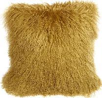 PILLOW DÉCOR Mongolian Sheepskin Soft Gold Throw Pillow