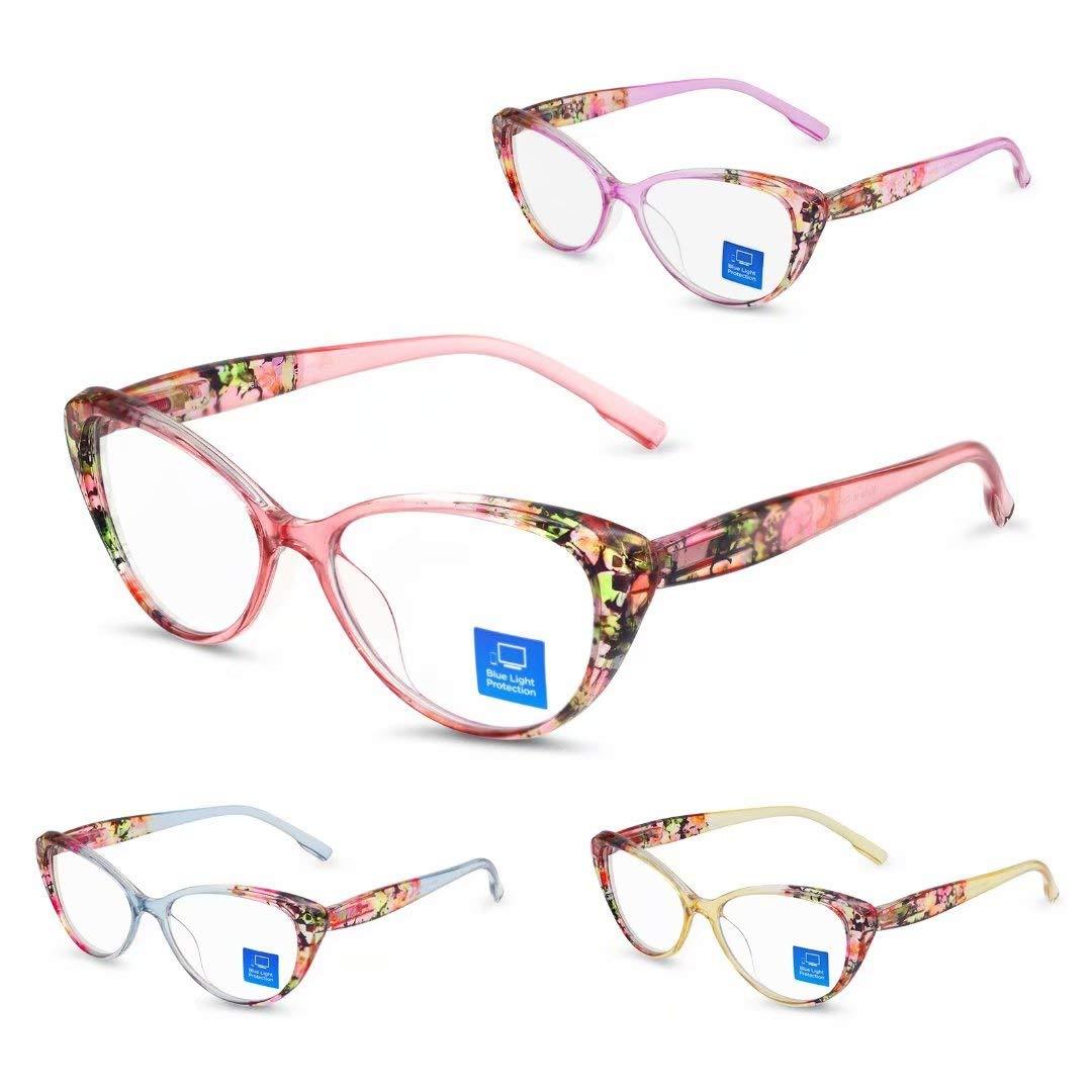 Reading Glasses Blue Light Blocking for Women 4 Pack Fashion Cat-eye Computer Readers Anti UV Ray/Eye Strain/Glare (Customize Order)