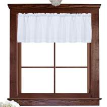 Valea Home Water Repellent Valance for Bathroom Window Waffle Woven Textured Short Kitchen Curtain Valances(60 x 16 inches, White, One Panel)