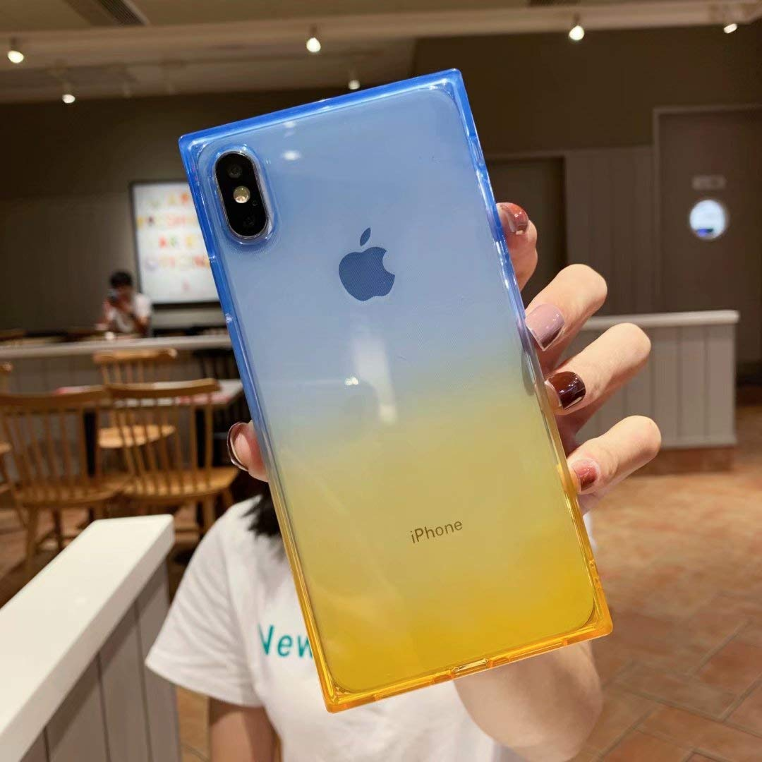 iPhone Xs Max Clear Case,Tzomsze Square Case Cute Gradient Slim Silicone Transparent Reinforced Corners TPU Cushion Cover Case for iPhone Xmax [6.5 inch]-Blue Yellow
