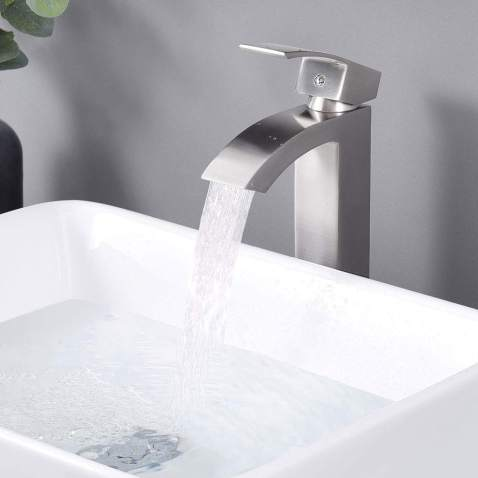 Aquaterior Modern Waterfall Tall Bathroom Faucet One Hole Vessel Sink Mixer Faucet Single Handle Brushed Nickel Cupc