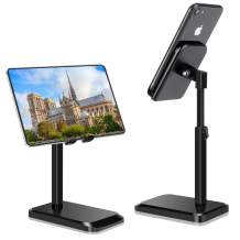 B-Land Cell Phone Stand, Adjustable Phone Holder Stand for Desk, Universal Desktop Phone Stand Tablet Stand Compatible with iPhone SE 11 Pro XS Max XR X 8 7 6S Plus Samsung Galaxy S10 S9 & Tablets