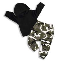 Baby Boy Clothes Toddler Infant Black Outfits Long Sleeve Romper Hoodie Tops and Camouflage Pants+Hats Clothing Set