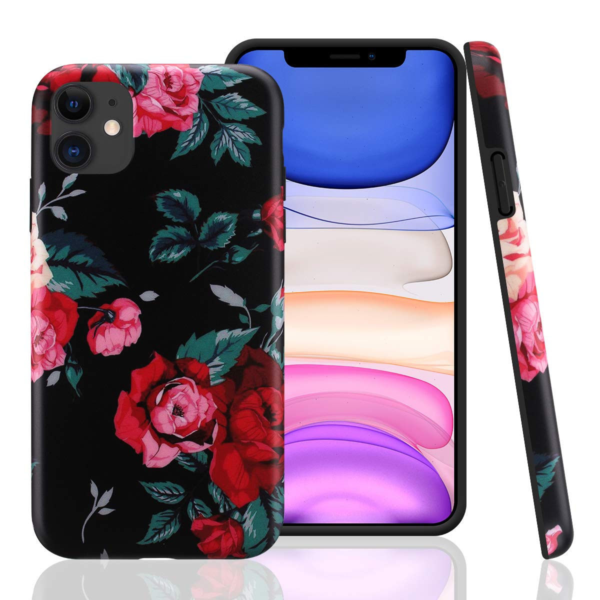 GOLINK Case for iPhone 11,Floral Series Slim-Fit Ultra-Thin Anti-Scratch Shock Proof Dust Proof Anti-Finger Print TPU Gel Case for iPhone XI 6.1 inch(2019 Release)-Red Rose