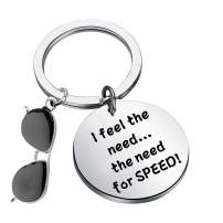 CENWA Top Gun Inspired Gift I Feel The Need The Need for Speed Aviator Glasses Charm Keychain Top Gun Movie Lover Collection Gift for Top Gun Fans