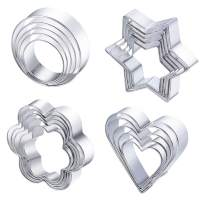 Stainless Steel Cookie Cutter Set Stainless Steel Mini Geometric Metal Molds Heart/Round/Pentagram/Flower Cookie Cutters 20pcs