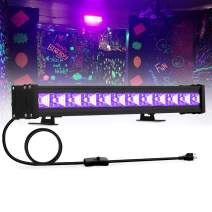 27W UV Black Light, 12LED Black Light Bar, Glow in The Dark Party Supplies for Disco Stage Lighting, Halloween, Body Paint, Fluorescent Poster, Birthday Wedding Party