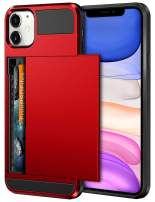 Vofolen Case for iPhone 11 Case Wallet Credit Card Holder ID Slot Sliding Door Hidden Pocket Anti-Scratch Dual Layer Hybrid Bumper Armor Protective Hard Shell Back Cover for iPhone 11 6.1 Bright Red