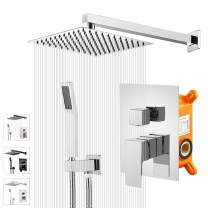 """KEBAO Shower System- Chrome Shower Faucet Set for Bathroom- State-of-the-art Air Injection Technology- 10"""" Square Rain Shower Head- Easy Installation- Eco-Friendly (Chrome)"""
