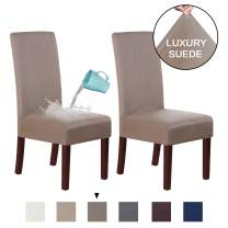 H.VERSAILTEX Suede Dining Room Chair Covers Dining Chair Slipcover Parsons Chair Slipcover Velvet Chair Covers for Dining Room Set of 2, Soft Stretch Removable High Back Chair Protector, Taupe