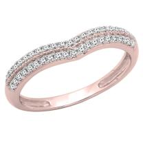 Dazzlingrock Collection 0.25 Carat (ctw) 10K Gold Round White Diamond Double Row Curved Wedding Band 1/4 CT