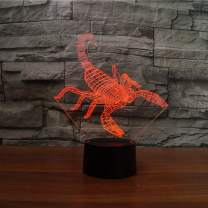 Interesting 3D Scorpion Design Night Lamp LED Lighting with Multi-Colors Desk Lamp as Children Gifts