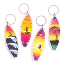 Baker Ross Plastic Surfboard Loot Keyrings (Pack of 8) Colourful Surfboard Attach to Anything!