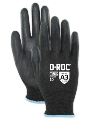 Magid Safety D-ROC Polyurethane Palm Coated Work Gloves, 9
