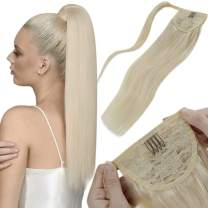 LaaVoo Ponytail Extension Platinum Blonde Real Human Hair Peice Pony Tail Hair Extensions 20 Inch 100g Silky Straight Real Wrap Around Ponytail Human Hair