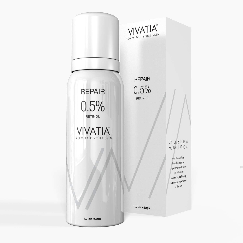 VIVIATIA Repair 0.5% Retinol Skin Care Treatment, Foaming Facial Serum with Vitamin E, Hyaluronic Acid | Clinically Proven to Treat Pigmentation & Photodamage, Supports Anti-Aging & Skin Brightening