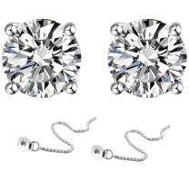 KIPONE Earrings Women Sterling Silver S925 For Girls Gold Stud Hoops Cheap Helix Diamonds