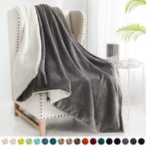 "Walensee Sherpa Fleece Blanket (Twin Size 60""x80"" Grey) Plush Throw Fuzzy Super Soft Reversible Microfiber Flannel Blankets for Couch, Bed, Sofa Ultra Luxurious Warm and Cozy for All Seasons"
