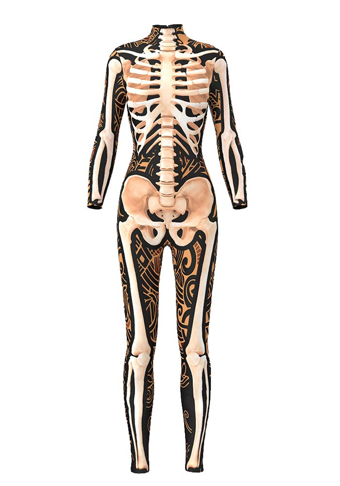 Honeystore Women's Skeleton or Xmas Catsuit Costume 3D Stretch Skinny Bodysuit