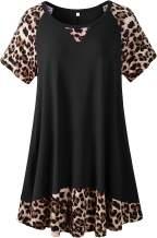 LARACE Plus Size Tunic Leopard Tops for Women Contrast Color Short Sleeve Summer T-Shirt