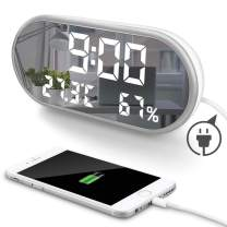 """MOONORN LED Digital Alarm Clock, 6.5"""" Large Digit Mirror Clock Bedroom Nightstand Clock with Temperature Humidity Display, USB Charger Ports, Adjustable Brightness for Travel Home Bedside (White)"""