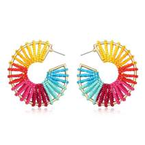 Statement Raffia Earrings Hoop Geometric Beaded Handmade Colorful Bohemian Dangle Earrings for Women Girls