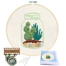 Full Range of Embroidery Starter Kit with Pattern, Kissbuty Cross Stitch Kit Including Embroidery Cloth with Cactus Pattern, Bamboo Embroidery Hoop, Color Threads and Tools Kit (Cactus)